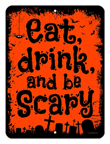 Honey Dew Gifts Halloween-Dekoration, Eat Drink and be Scary, 22,9 x 30,5 cm, Metall Aluminium