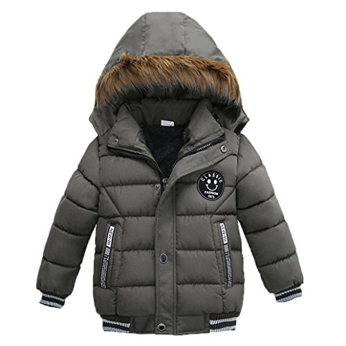 VENMO Mode Kinder Mantel Mädchen Dicke Kleidung Gepolsterte Winterjacke Daunenjacke Jungen Jacke Daunenjacken mit Kapuze Ultraleichte Wattierte Steppjacke Strickjacke Daunenmantel (5T, Gray) (Jungen Shirt Gepolsterte)