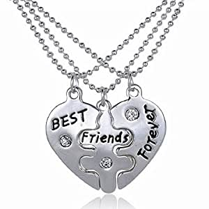 Revo Lity Best Friends Forever Three Part Necklace Friendship Necklace Includes Beautiful Gift Bag For Each Necklace