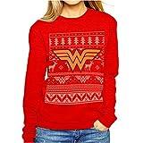 Logo ufficiale di Wonder Woman, da collezione, motivo: Fair Isle maglione natalizio, colore: rosso giallo Large