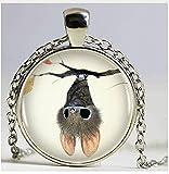 Fledermaus Anhänger Halskette silberfarben Vintage Halskette Frauen Schmuck inspirierenden Wort Geschenke, silber Halskette Fledermaus