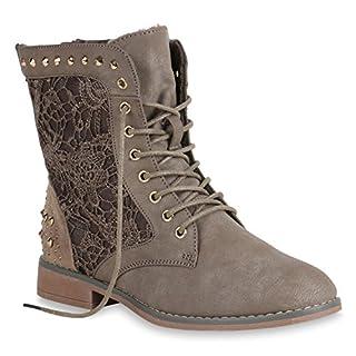 Stiefelparadies Gefütterte Schnürstiefeletten Damen Schuhe Stiefeletten Spitze Nieten 151203 Khaki Autol 38 Flandell