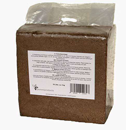Kokosfaserziegel 70 Liter, ca. 5kg (EUR 0,24 je Liter), Humusziegel, Kokosziegel, torffreie Anzuchterde, Kokosquellerde aus gepresster Kokosfaser