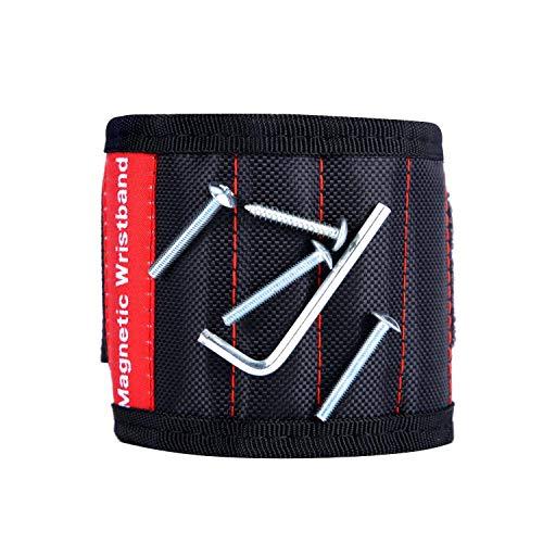 COSVE Magnetische Armbänder, mit 5 leistungsstarken Magnet Armbänder, Holding Werkzeuge für Haltewerkzeuge Schrauben Nägel Dübel Bohrungen Bohrer Scheren und DIY Handwerker
