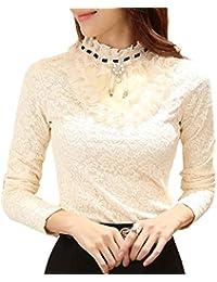 Minetom Damen Bequem Bluse Langarm mit Futter Hemdbluse Spitze Stickerei Bluse  Shirt Stehkragen Business Elegant… 5d90ac9631