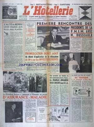 HOTELLERIE (L') [No 1186] du 01/08/1962