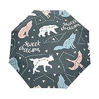 COOSUN Star Animals Pattern Automatic 3 Folding Parasol Umbrella