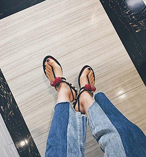 NobS Pattini di ciliegia dei sandali Pendente rotondo del piede femminile della perla quadrato dei talloni della punta del tallone Black