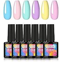 ROSALIND Esmaltes Semipermanentes de Uñas en Gel UV LED, 6 Colores Kit de Esmaltes de Uñas, Esmaltes en Gel Soak Off 10ml
