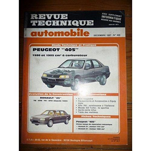 RTA0486 - REVUE TECHNIQUE AUTOMOBILE PEUGEOT 405 1580 et 1905 cm3 à carburateur