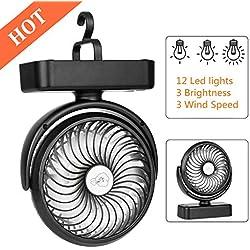 COMLIFE Ventilateur de Camping avec Lampe LED, Ventilateur Portable avec Batterie Rechargeable 4400 mAh, Ventilateur USB Personnel avec Crochet (Jusqu'à 40h)