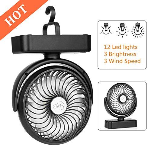 COMLIFE Ventilador de Escritorio Portátil con Luces LED para Camping con Batería Recargable 4400mAh...