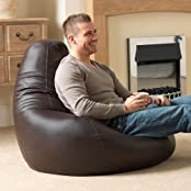 Bean Bag Bazaar Bean Bag Bazaar Gaming Sitz Sack Designer Liegesessel BRAUN Lederimitat - Extra Large Sitzsack Sessel