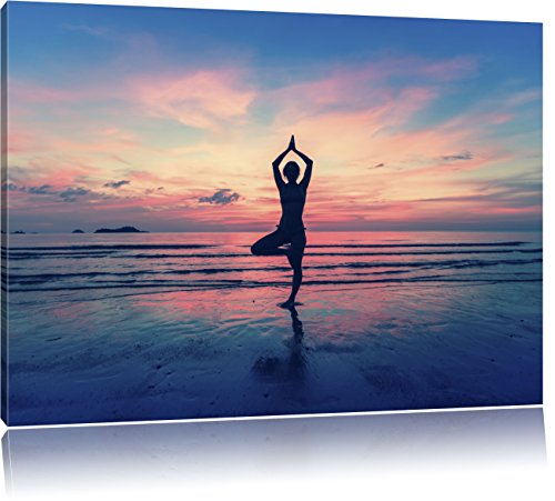 Yoga am Strand, Format: 100x70 auf Leinwand, XXL riesige Bilder fertig gerahmt mit Keilrahmen, Kunstdruck auf Wandbild mit Rahmen, günstiger als...