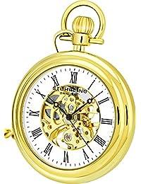 "Stuhrling Original Men's Vintage Mechanical Wind Skeleton 23K Gold Plated 47mm Pocket Watch with 12"" chain and belt clip 19 Jewels 30 Hours Power Reserve"