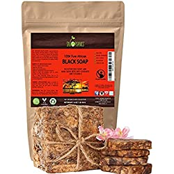 Jabón orgánico africano negro puro (bloque de 454g). jabón negro de Ghana con cacao, manteca de karité y aloe.