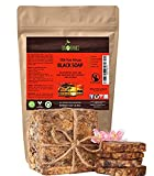 Organic African Black Soap (454g block) - Raw Organic Soap Ideal for Acne, Eczema, Dry Skin, Psoriasis, Scar Removal, Face & Body Wash, Authentic Black Soap From Ghana with Cocoa, Shea Butter & Aloe