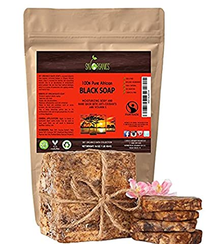 Organic African Black Soap (454g block) - Raw Organic Soap Ideal for Acne, Eczema, Dry Skin, Psoriasis, Scar Removal, Face & Body Wash, Authentic Black Soap From Ghana with Cocoa , Shea Butter &