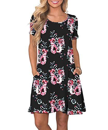 Yidarton Sommerkleid Damen Casual Lose Kurzarm T-Shirt Kleider Elegant Boho Blumen Strand Kleider mit Taschen(bk,XXL)