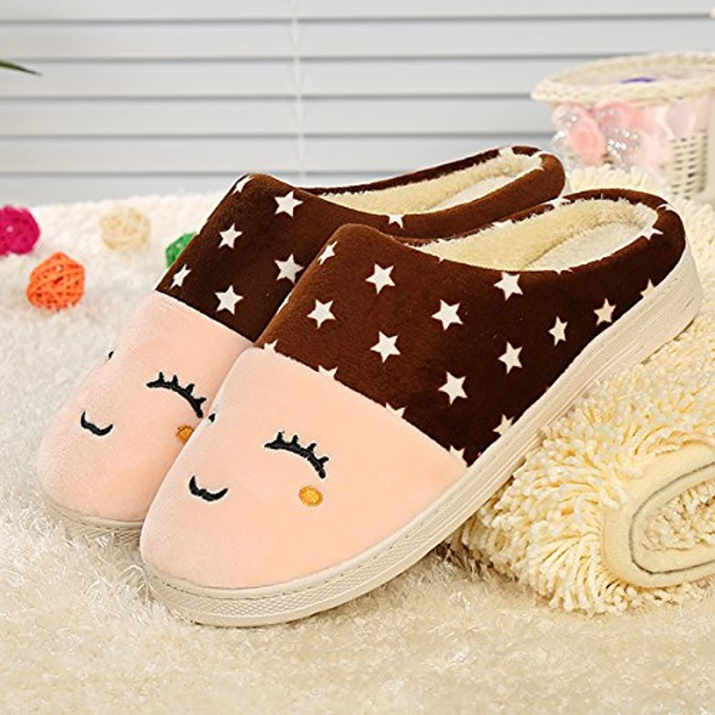 Y-Hui rostro sonriente, zapatillas de algodón, Casa amantes, zapatillas de algodón,3637,Café