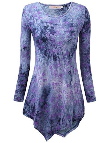 WAJAT Damen Langarm T-Shirt Asymmetrisch Hem Tunika Stretch Blau-Batik L (Batik-bluse)