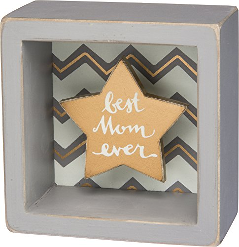 Best Mom Ever-Gold Star Shadowbox Box Mini Box Sign-3-1/2-in ()
