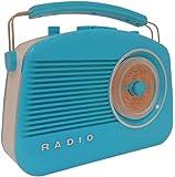 Steepletone Brighton 1950's Portable Retro Style Rotary Radio - Blue/White