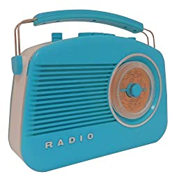 Steepletone Brighton 1950's Portable Retro Style Rotary Radio - Bluewhite