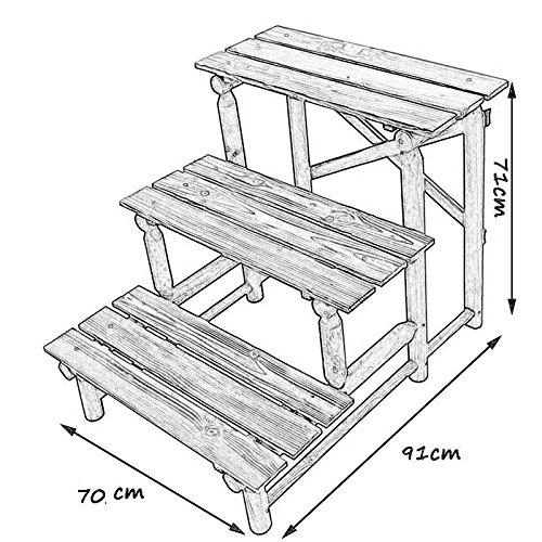 RUNWEI Trapezförmiger Massivholz-Werkstand 3-stöckige Bühneneinheit Garten/Gewächshaus – Schuppen und Garagenregale