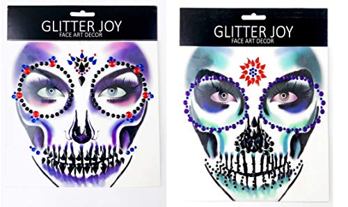 Halloween Gesicht Edelsteine   Body Jewels Temporäre Tattoos machen Gesicht Art Tag der Toten Schädel Halloween Fancy Dress (Tote oder Lebendige & Gift-Passion)