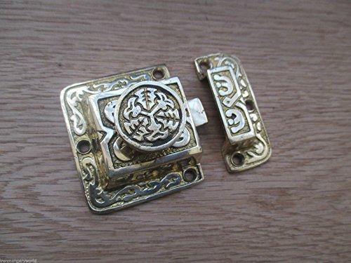 Ironmongery World®, massives Messing, verziert Fancy Dekorative Schränke Tür Verschluss Knauf Schloss, T/TEE KNOB LATCH
