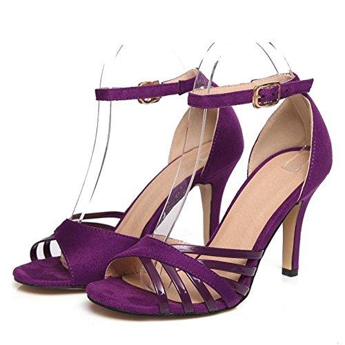 TAOFFEN Femmes Mode Peep Toe Sandales Aiguille Sangle De Cheville Soiree Chaussures Violet