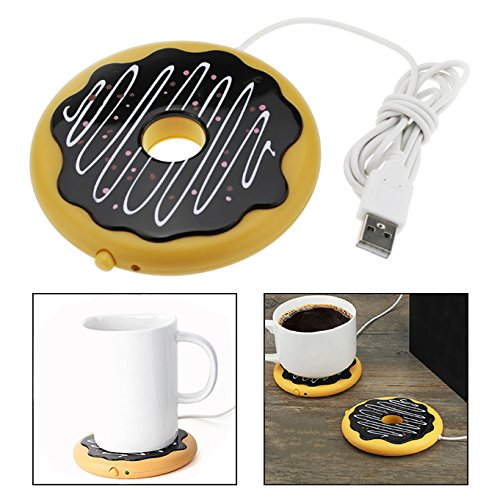 OFKPO Portable USB Tassenwärmer Donut Form Mug Beheizte Matte für Kaffee Tee