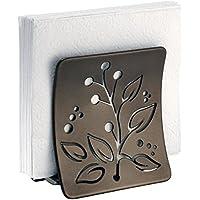 mDesign Servilletero de mesa o para la encimera de la cocina – Soporte para servilletas de papel o de tela - Porta servilletas de acero en color bronce con adornos de hojas