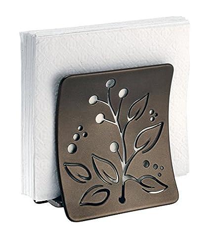 mDesign range-serviettes de table avec motif à feuille pour le plan de travail ou la table de salle à manger - range serviettes de table - porte serviette de table - bronze - en acier