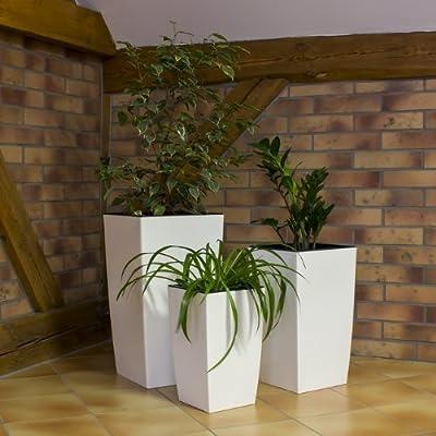 Dekoratives 3er Set Blumenkübel Blumentopf weiß glänzend Pflanzeinsatz Coubi Serie von Prosperplast bei Du und dein Garten