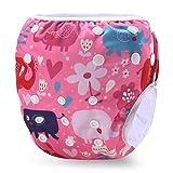 Storeofbaby I pannolini da bagno riutilizzabili del bambino lavano i pantaloni di nuotata per i ragazzi e le ragazze 0-3 anni (Elefante blu rosa)