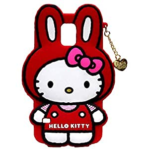 Hello Kitty Silicone With Pendant Back Case Cover For Samsung Galaxy S5 I 9600
