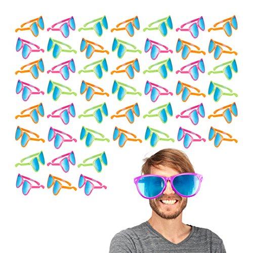 Relaxdays 48 x Partybrille, Blaue XXL-Gläser, Kostümzubehör, Karneval, JGA, Sternchen, 25cm breit, Kunststoff, Versch. Farben