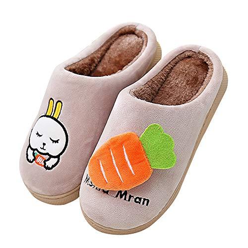 QZBAOSHU Winter Plüsch Hausschuhe Kinder Junge Mädchen Süße Cartoon Häschen Pantoffeln 30/31 EU (Etikettengröße 230) Khaki (Häschen-hausschuhe Für Mädchen)
