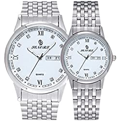 Valentine's Day Gifts, Hansee Lovers' Watches, Stainless Steel Band, Couple Crystal Rhinestore Watch, Luxurious Quartz Wrist Watch (Silver)