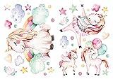 Infantil deco de acuarela Unicornio con arco iris