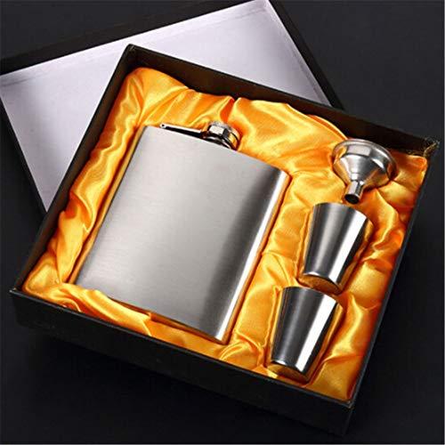 Aszhdfihas Edelstahl-Hüftflaschen Alkohol-Flachmann mit Fenster 7 Unzen - Geschenk-Set mit Zwei Gläsern und Trichter
