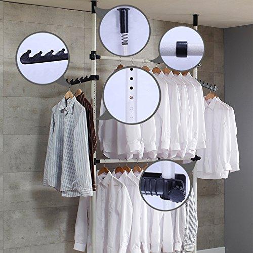 1PLUS Teleskop Garderoben- Kleiderschrank System, Kleideraufbewahrungssystem, Regalsystem, Breite: 60-110 cm, Höhe: 220-290 cm, 2 Variable Kleiderstangen