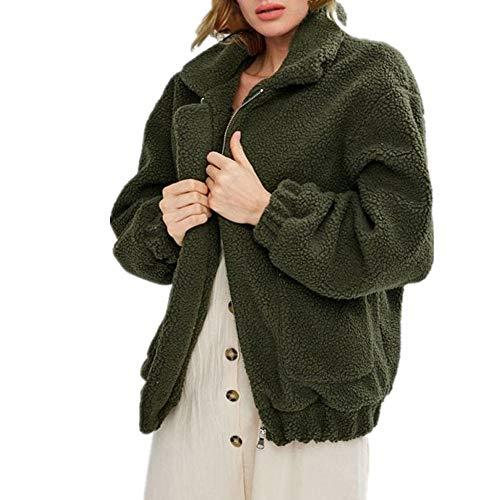 Staresen Frauen Locker Mantel Damen Casual Parka Outwear Coat Damenmode Winter Warm Langarm Tasche Reißverschluss Jacke Mantel Bluse Plüschjacke für Lange Ärmel mit Reißverschluss