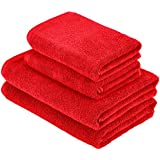 AmazonBasics - Set di 2 teli bagno e 2 asciugamani ad asciugatura rapida, colore: rosso