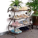 MIAOXIAO Eisen Schuhregal, Mini Modernes Wirtschaftliches Einfaches Platzsparende Mehrschicht Schuhschrank, Vielen Funktionen Lagerregal (4 Schicht),Braun