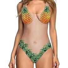 NINGSUN Nuovo Disegno Costume da Bagno Intero da Donna con Stampa Ortaggio Frutta Personalità Creativo Bikini Sexy con Taglio Alto Monokini Vacanza Primavera ed Estate Beachwear