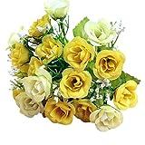 happy event Unechte Blumen | 2 Bündel 21 Köpfe Rose Künstliche Deko Blumen Gefälschte Blumen | Braut Hochzeitsblumenstrauß für Haus Garten Party Blumenschmuck (Gelb)
