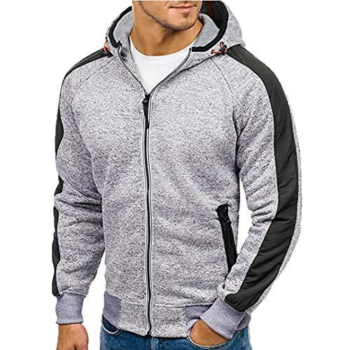 ITISME Herren Pullover Herren Hoody Zipper Slim Hoodies Sweatshirts Pullover Mantel Jacke (Large, Grau1)